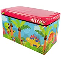 Preisvergleich für Kids Toys Books Childrens Lid Tidy Large Storage Box Folding Stool Seat Toy Box Boys Girls Chest Clothes (Dinosaur) by FunkyBuys