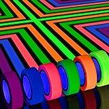 Whaline Nastro Neon Gaffer in Stoffa, 6 Colori Bagliore Fluorescente UV Blacklight in the Dark per UV party (0,6 pollici x 16,5 piedi)