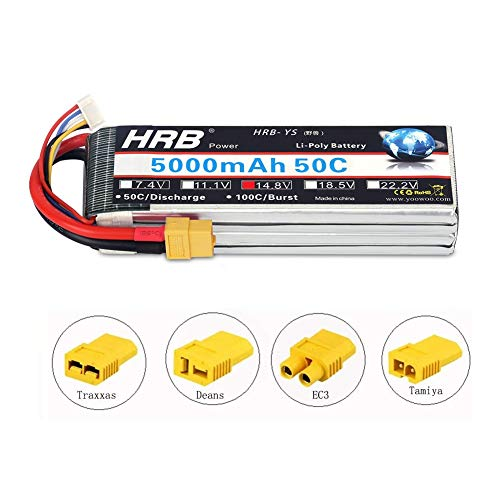 HRB 5000mAh 14.8V 50C 4S Lipo Akku Pack XT60 for FPV Racing Quadcopters Diverse Racing Cars Helikopter Flugzeuge und Modellboote (EC3/Deans/Traxxas/Tamiya