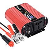 600W Wechselrichter imoli Auto-Spannungswandler Spitzenleistung 1200W Dual-Steckdose und USB-Ladeanschluss mit Zigarettenanzünder-Adapter-Batterie-Clips DC 12V bis AC 220V Transformator