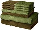#9: Amazon Brand - Solimo 100% Cotton 10 Piece Towel Set, 500 GSM (Brown and Olive Green)