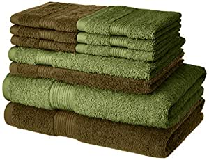 Amazon Brand - Solimo 100% Cotton 10 Piece Towel Set, 500 GSM (Brown and Olive Green)
