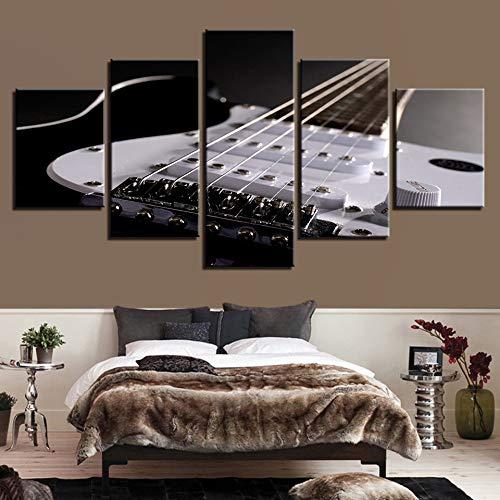 5 Stück HD Gedruckt Leinwanddrucke Poster Wohnzimmer Dekor Elektrische Gitarre String Gemälde Musikinstrumente Bilder Wandkunst (Gemälde Musikinstrumente,)