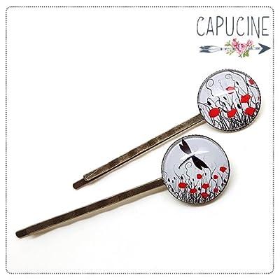 2 pinces Coquelicots bronze et cabochons verre - pinces cheveux Coquelicots - Barrettes cheveux illustrées - Coquelicots
