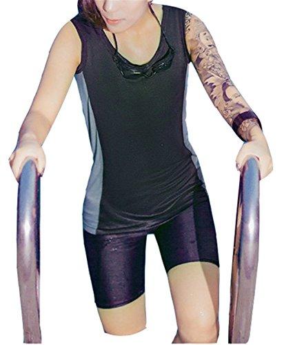 Kikhorse Respirable La Compression Lesbienne Poitrine Binder Swimsuit Tankini + Malles (Noir et Gris, X-Small)