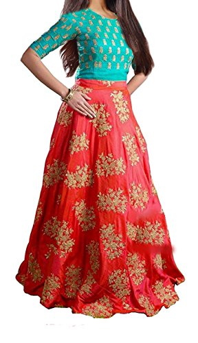 Market Magic World Girl's Fenta Tafetta Silk Semi- Stiched Lehngha Choli (8-12...