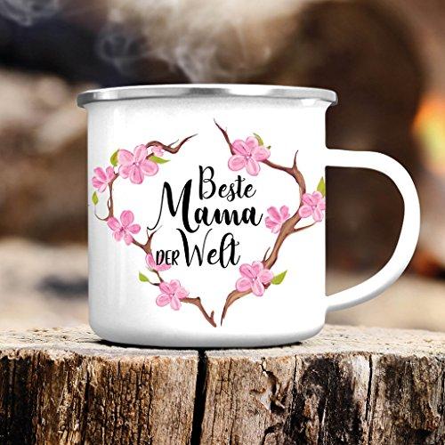 """Campingbecher Emaille """"Mama du bist die Beste"""" mit Blumenkranz von Wandtattoo-Loft® / Emailletasse / Becher mit Motiv zum Muttertag / silberner Tassenrand"""