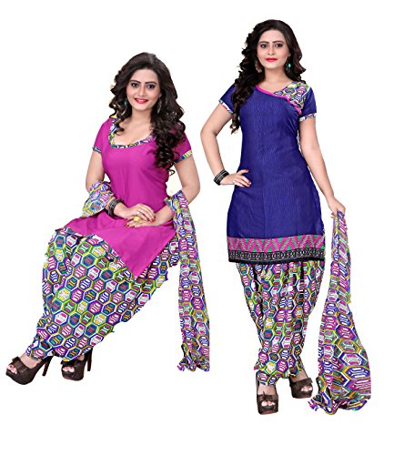 Khushali Presents Printed Crepe Dual Top Style Unstitched Dress Material(Pink,Navy Blue,Multi)