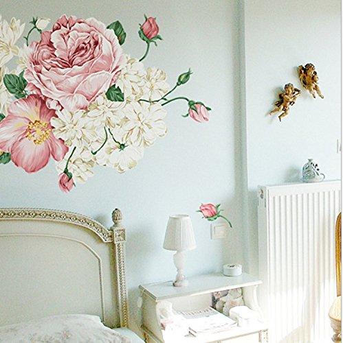fulla2116Pegatina de Pared Flor de peonía Vintage dormitorio MURAL