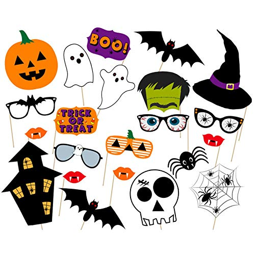 Foto Booth Gruselige Requisiten 22 Stück Halloween Fotografieren Requisiten Set Kürbis Hut Horror Totenkopf Bugs Aufkleber Geburtstag Weihnachten Selfies Whiskers Caps Goggles 22pcs Wie ()