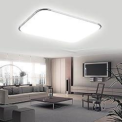 Hengda® 96W LED Eckig Deckenlampe Leuchte 8640LM Silber Weiß (6000K-6500K) IP44 Badezimmer geeignet Deckenleuchte Wohnzimmer 85V-265V, mit Angenehmes Licht