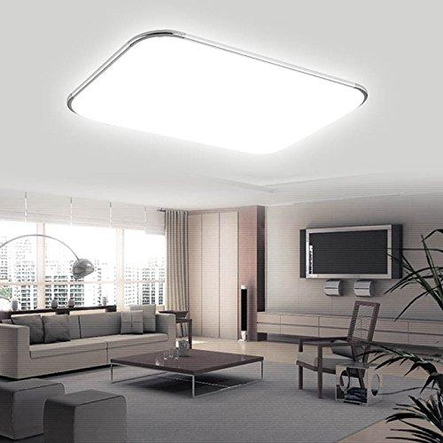 Hengda® 96W LED Eckig Deckenlampe Leuchte 8640LM Silber Weiß (6000K-6500K) IP44 Badezimmer geeignet Deckenleuchte Wohnzimmer 85V-265V, mit Angenehmes Licht - Flache Warenkorb