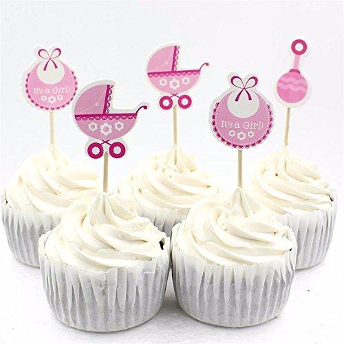 Zerodis Packung mit 50 Cupcake Toppers Kinderfeste Geburtstag Party Dekoration für Baby Boy/Girl(Rosa)