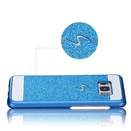 Rouge Très Mince Coque Samsung Galaxy S8 Etui Housse Case Hard PC Matière avec [Protecteur d'écran] [Ultra Mince] [Ultra Léger] Anti-Rayures Anti-dérapante Dur Matte Cover,Sunroyal Élégant Motif Fleur Bleu