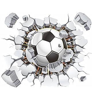 awakink Fußball Fußball Broken 3D Deko Schale Vinyl Wand Sticker Wand Aufkleber abnehmbaren Dekore für Wohnzimmer Kids Zimmer Baby Kinderzimmer Jungen Schlafzimmer