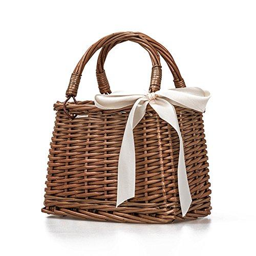 Gaeruite Stroh gewebte Tasche, handgemachte Rattan Woven Stroh Handtasche, Retro-Stil Rattan Woven Bag Handtasche Strandtasche Aufbewahrungsbox Lunch Box Bag Rattan Aufbewahrungsboxen