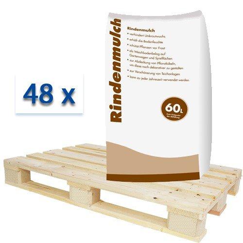 Rindenmulch 0--40mm 48 x 60 Liter Sack Mulch Garten Deko