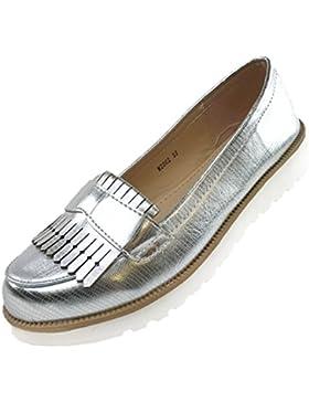 CAPRIUM Moderne Schuhe Espadrilles Sandalen Mokassin Fransen Halbschuhe, Damen 000M2001