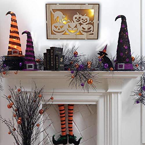 VENTDOUCE Hauptdekoration Und Feiertagsdekoration Aus Holz Halloween Rechteckigen Computer Laser Hohle Schwarze Katze Kürbis Menschen LED-Leuchten Leuchtet Dreidimensionale Ornamente Hängen applied