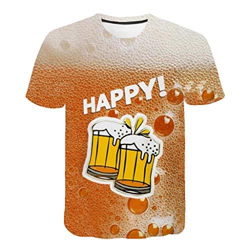 SHE.White Unisex 3D Bier Druckten Sommer Beiläufige Kurze Hülsen T-Shirts T-Stücke Herren Komfortables Crew Neck Spaß Motiv Tops Oberteile M-3XL
