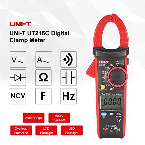 Probador de la temperatura de frecuencia Capacitancia pinza amperimétrica UNI-T UT216C multímetro digital 600A RMS real escala automática voltios amperios Ohm(Negro y rojo)