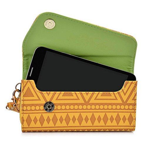 Kroo Pochette/étui style tribal urbain pour Sony Xperia Z3+ Dual/E4 Multicolore - White and Orange Multicolore - jaune