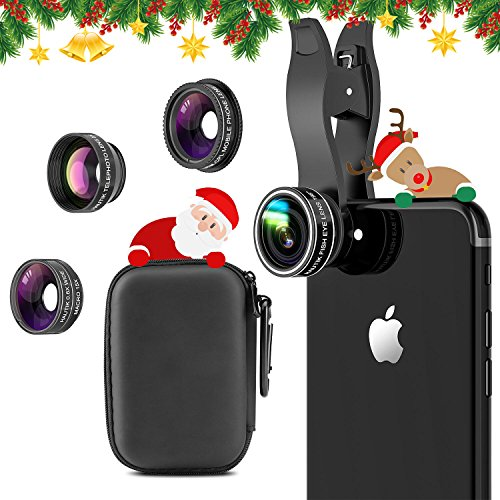HAUTIK 5 in 1 Handy Objektiv Set mit Geschenkbox,Fisheye Objektiv, 0.6X Weitwinkelobjektiv, 15X Makroobjektiv, 2X Teleobjektiv und Polarisato für iPhone X,iPhone 8/7/6/6s Plus,Samsung und Smartphones