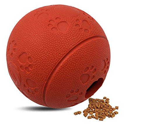Activity Naturkautschuk Snack Bal Ball Leckerli-Spender für Hunde Interaktives IQ Treat Training Spielzeug langsam Füttern Lösung, rot, 8 cm (Rote Hund-ball)