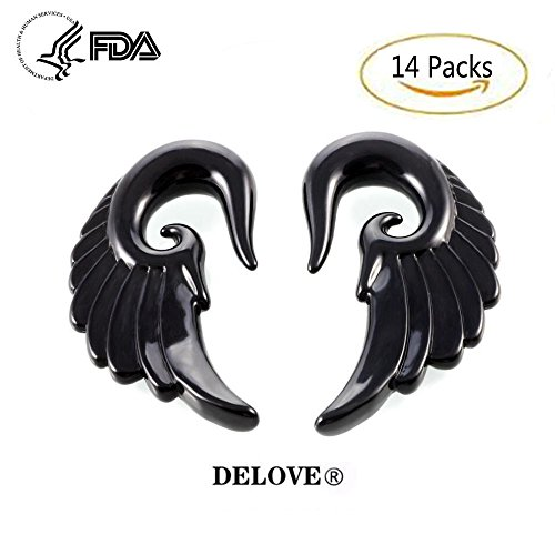 DELOVE 14PCS Acryl Angel Wings Grey Marmor Ohrstöpsel 3MM-12MM + Mischfarben Acryl Spiral Taper Plug Gauge Stretching Kit-Vintage Angel Wings,Black (Verjüngt Gauge 4)