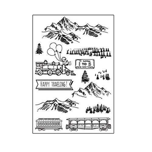 Moresave Berge und Zug Silikon Transparent DIY Stempel Dichtungen DIY Handwerk Scrapbooking Künstlerische Graffiti