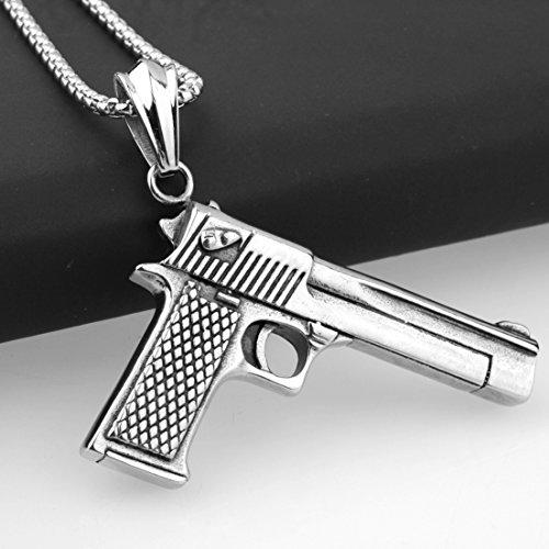 Modow Bling Westside Gangster Hip Hop Rap Stern Stil Pistole Form Kette, 316L Titan Edelstahl Halskette, Länge 22,6 Zoll,Silver+Chain (Old School Rap Kostüme)