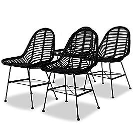 Vislone 4 pcs Chaises de Salle à Manger en Rotin Naturel 49 x 56 x 84 cm Noir