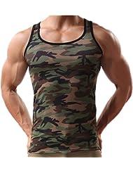 Huntvp Maillot sans Manches pour Homme Gilet Débardeurs T-Shirt Sans Manches Chemises Elastique Homme pour Sport Cyclisme Natation Fitness Camouflage