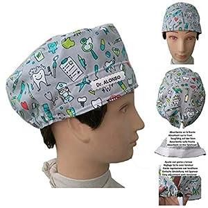 Hüte des Zahnarztes Zahnarzt Instrumental zahnmedizinisch für kurze haare. Absorbierend auf der Stirn Verstellbarer Spanner Angepasst mit Name in Option