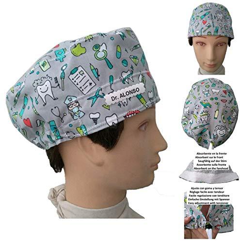 Hüte des Zahnarztes Zahnarzt Instrumental zahnmedizinisch für kurze haare. Absorbierend auf der Stirn Verstellbarer Spanner Angepasst mit Name in Option (Herren Op-hut)