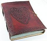 Vintage Leder-Notizbuch, groß, mit geprägtem Herz, Tagebuch, handgefertigtes Papier–koptisch gebunden mit Schloss