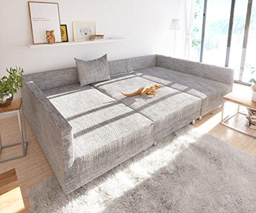 Sofa Clovis erweiterbares Modulsofa Eckcouch Wohnlandschaft (Sofa mit Hocker, Grau) - 2
