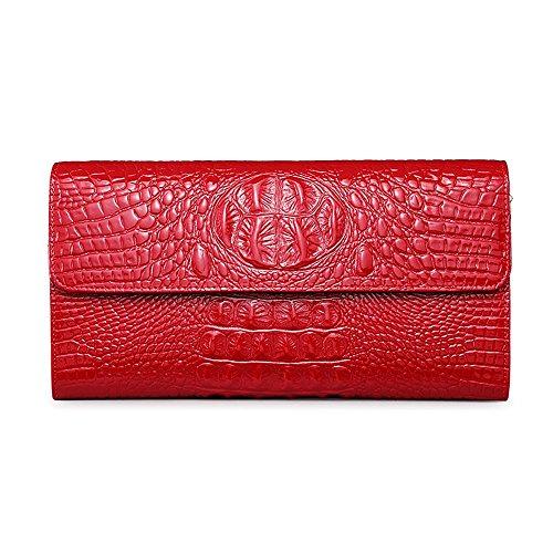 Muster-Damenhandtasche, weiblicher Schulterlederdamen-Abendbeutel, Kettenpaket ( Farbe : Blau ) Rot