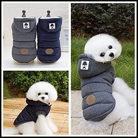 Hommii costume cane Pet Winter Hoodie Hat Warm Apparel Puppy Cat Dog Clothes Blue/Grey