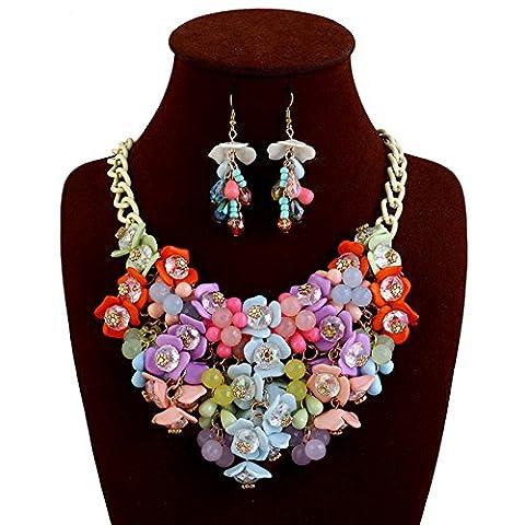 Truecharms Mode ras du cou Bavoir Collier multicolore Fleur Cristal Collier Femme Marque Femme Bijoux Déclaration Colliers Collier Multi with earrings