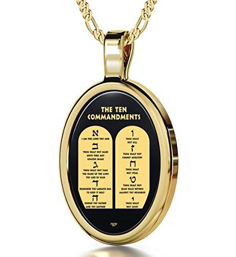 Nano Schmuck Religiöser Anhänger mit Kette - Biblische 10 Gebote Gottes in 24k (999) Gold auf oval geschliffenen Onyx geprägt. Vergoldete Fassung - Christliches Amulett