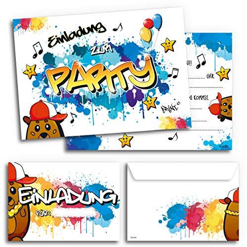 12x Geburtstagseinladungen mit Umschlägen | Graffiti-Party | Einladungskarten für Kindergeburtstag | Für Jungen & Mädchen | Einladungen Geburtstag Kinder Junge Partyeinladung Einladung Jungs bunt Cool (Mit Kostenloser 5x7 Versand Umschläge)