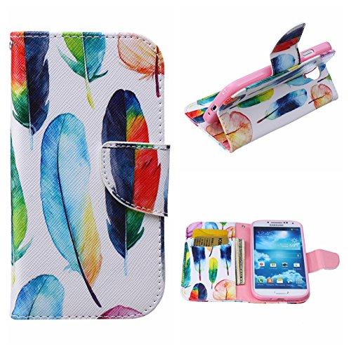 MOONCASE Galaxy S4 Hülle, [Colorful Feather] Muster Schutzhülle Leder Tasche Brieftasche [Stoßdämpfende] TPU Case mit Standfunktion und Karte Halter für Samsung Galaxy S4 I9500