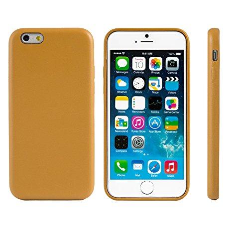 """iProtect® Apple iPhone 6 (4,7"""") Hülle Kunstleder Hard Case Schutzhülle beige Leder Hard Case Hellbraun"""