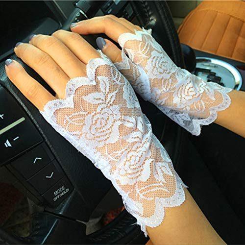 Kostüm Charming Girl - Caokang Rose Pattern Schwarz Weiß Charming Lady Girl Lace Party Kostüm Handschuhe Finger Fingerless Handschuh,Weiß