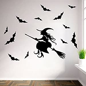 halloween pared pegatina bruja con