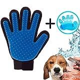 iZoeL Tier Haar Remover Bürsten Handschuh Hundebürste Katzenbürste Fellpflege Handschuhe Bürste Haarentferner Fingerhandschuhe Massagehandschuh Langhaar Kurzhaar (Blau)