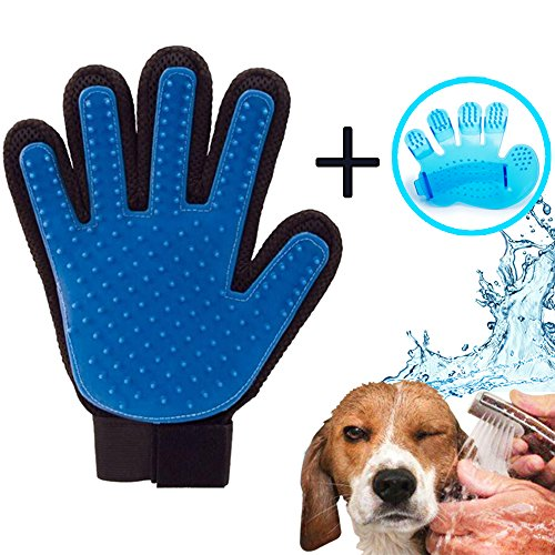 iZoeL Gloves Mitt Massage for Pets Dogs Cats, Hair Removal and Massage Apparatus - Pet Massage and Bath Brush and Comb