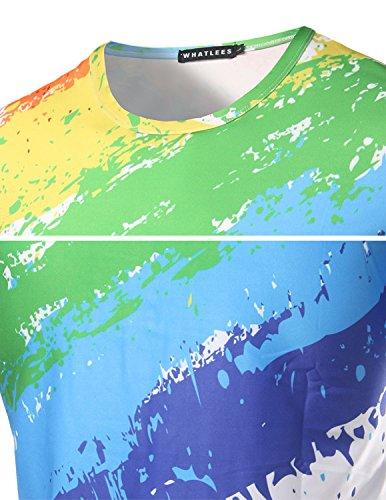 YCHENG Unisex Stilvolle Beiläufige Entwurf 3D-Druck-Muster Kurzarm T-Shirt mit Bunt 1102-S