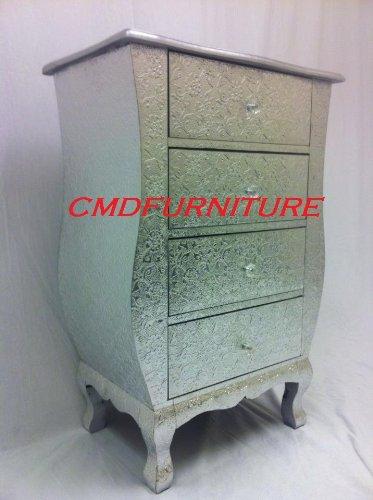 Chaandhi Kar Silver Embossed 4-Drawer Bedside Cabinet